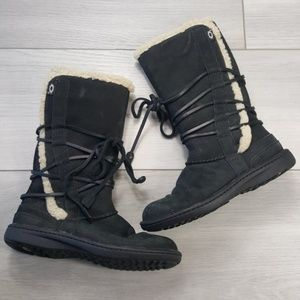 UGG Catalina Back Lace Up Leather Boots Size 8